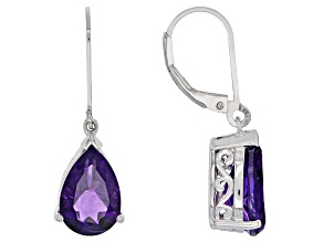 Purple African Amethyst Sterling Silver Solitaire Earrings 4.98ctw