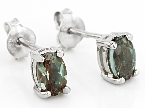 Green Labradorite Sterling Silver Stud Earrings .75ctw