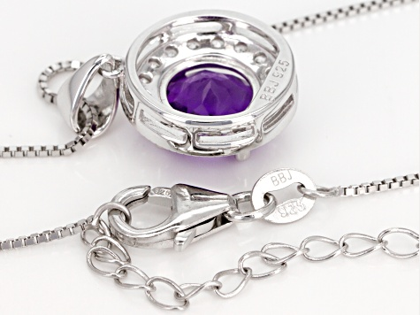 Purple African amethyst sterling silver pendant with chain 3.13ctw