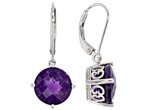 Purple amethyst sterling silver dangle earrings 7.26ctw