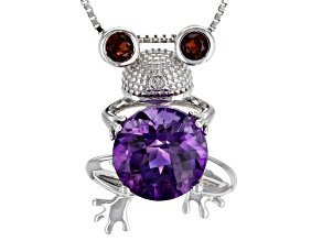 Purple amethyst sterling silver frog pendant with chain 3.21ctw