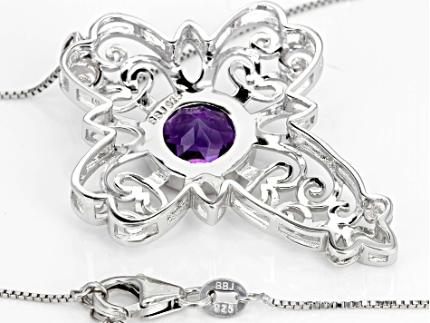 Purple African amethyst sterling silver pendant with chain 4.02ct