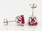Mahaleo Ruby Sterling Silver Heart Shape Stud Earrings 3.90ctw