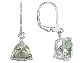Green Brazilian Prasiolite Sterling Silver Solitaire Earrings 4.93ctw