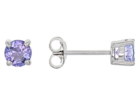 Blue Tanzanite Sterling Silver Stud Earrings .84ctw