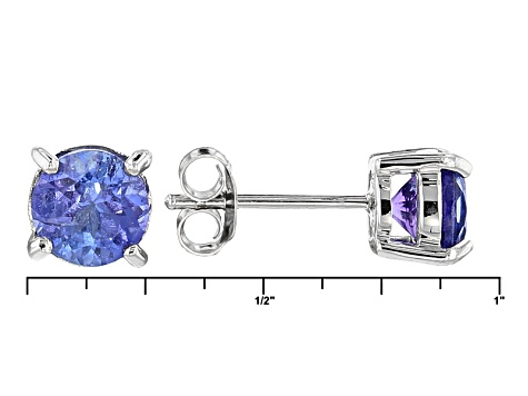 Blue Tanzanite Sterling Silver Stud Earrings 1.46ctw