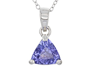 Blue Tanzanite Sterling Silver Solitaire Pendant With Chain 1.39ct