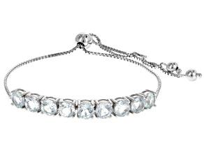 Blue Aquamarine Sterling Silver Bolo Bracelet 3.60ctw