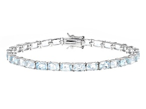 Blue Aquamarine Sterling Silver Tennis Bracelet 11.31ctw