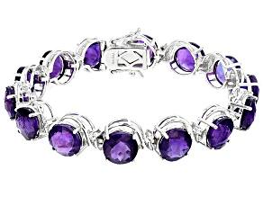 Purple Amethyst Sterling Silver Bracelet 43.36ctw