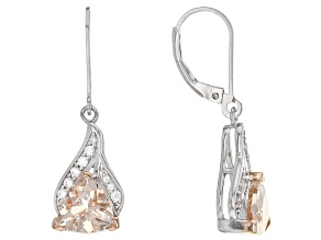 Pink Morganite Sterling Silver Earrings 2.71ctw