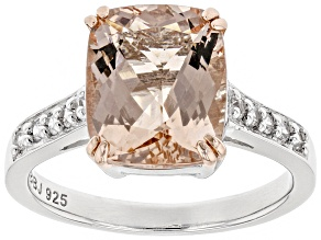 Pink morganite rhodium over sterling silver ring 3.17ctw