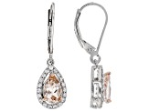 Pink morganite sterling silver earrings 1.45ctw