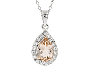 Pink morganite rhodium over sterling silver pendant with chain 2.03ctw