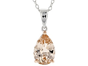 Peach morganite rhodium over sterling silver pendant with chain 1.50ct
