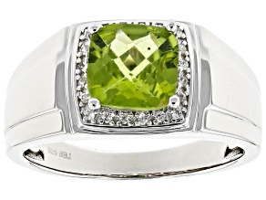 Green Peridot Sterling Silver Mens Ring 1.93ctw