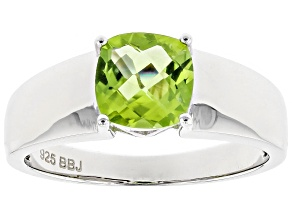 Green Peridot Sterling Silver Men's Ring 1.82ct