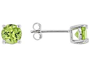 Green Peridot Sterling Silver Stud Earrings 1.40ctw