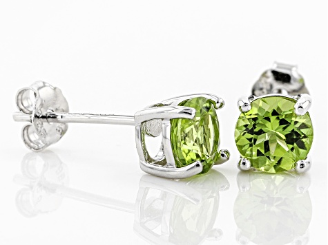 Green Peridot Sterling Silver Stud Earrings 1.40ctw
