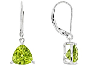 Green Peridot Sterling Silver Earrings 2.97ctw