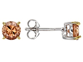 Cognac zircon sterling silver stud earrings 1.53ctw