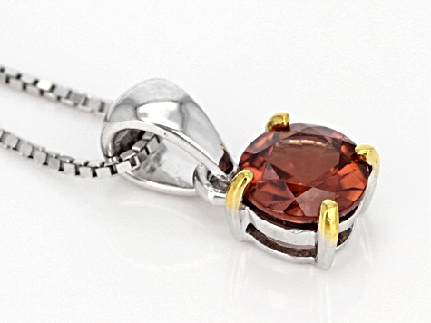 Cognac zircon sterling silver solitaire pendant with chain 1.00ct