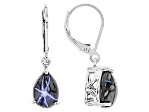 Blue Star Sapphire Sterling Silver Solitaire Earrings 5.00ctw
