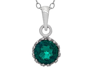 Lab created Emerald Sterling Silver Pendant .84ctw