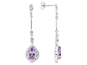 Purple Amethyst Sterling Silver Earrings 3.05ctw