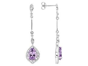 Purple Amethyst Sterling Silver Earrings 3.05ctw