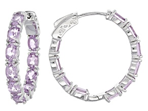 Purple Amethyst Sterling Silver inside/Outside Hoop Earrings 6.80ctw