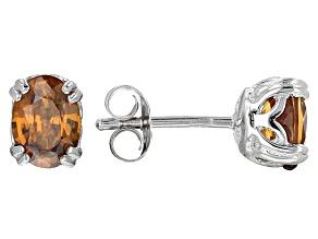 Brown Zircon Sterling Silver Stud Earrings 1.80ctw