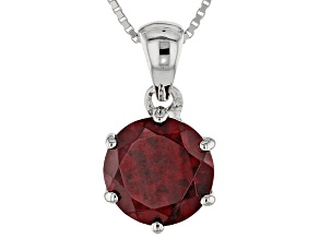 Red Zircon Sterling Silver Solitaire Pendant With Chain 4.50ct