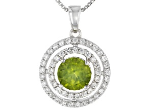 Green Arizona Peridot Sterling Silver Pendant With Chain 1.92ctw