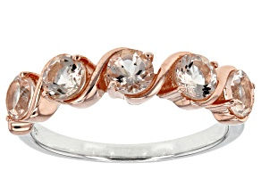 Peach Morganite Two-Tone Silver And 18k Rose Gold Over Silver Ring .93ctw