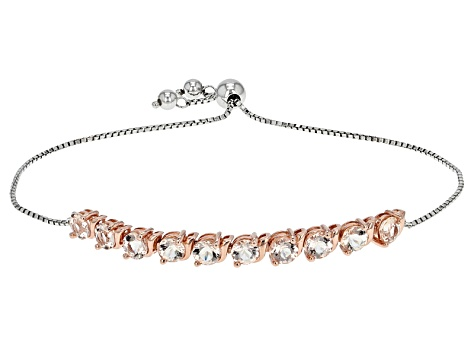 Pink Morganite 18l Rose Gold Over Silver Two-Tone Bolo Bracelet 3.82ctw.