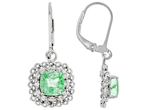 Green tsavorite rhodium over sterling silver dangle earrings 2.72ctw