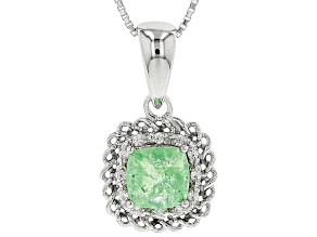 Green tsavorite rhodium over sterling silver pendant with chain 1.91ctw