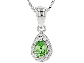 Green tsavorite rhodium over sterling silver pendant with chain .45ctw