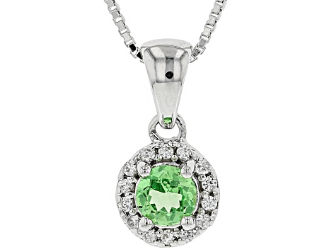 Green tsavorite rhodium over sterling silver pendant with chain .53ctw