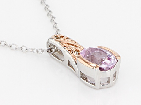 Pink Topaz Sterling Silver Pendant With Chain .79ct