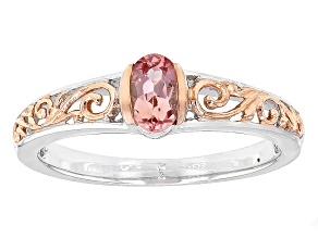 Pink Topaz Sterling Silver Ring .42ct