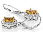 Yellow Golden Citrine Sterling Silver Earrings 1.75ctw