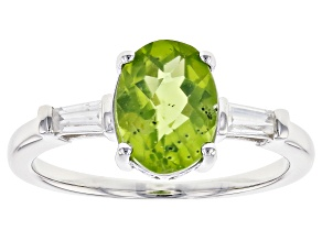 Green peridot rhodium over sterling silver ring 1.74ctw