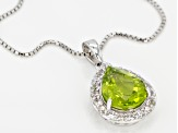 Green peridot rhodium over sterling silver pendant with chain 2.72ctw