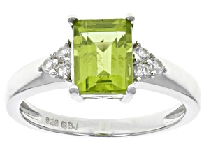 Green peridot sterling silver ring 1.59ctw