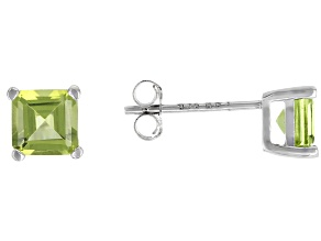 Green peridot rhodium over sterling silver stud earrings 1.10ctw