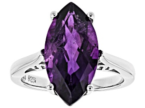 Purple amethyst rhodium over sterling silver ring 5.60ct