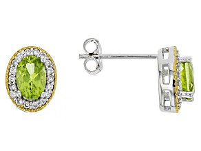 Green peridot Two-Tone Silver earrings 1.17ctw