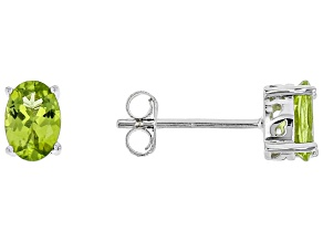 Green peridot sterling silver stud earrings 1.39ctw